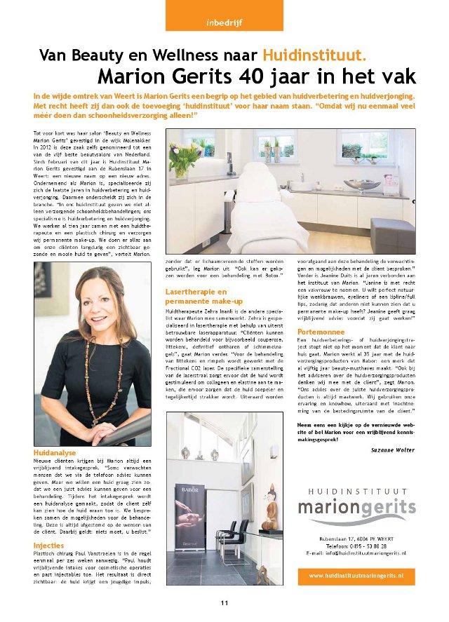 Weert Magazine artikel Huidinstituut Marion Gerits
